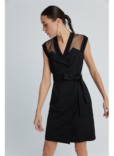 Rue Kemerli Midi Siyah Elbise Siyah